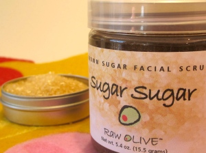 facial scrub, raw olive, brown sugar
