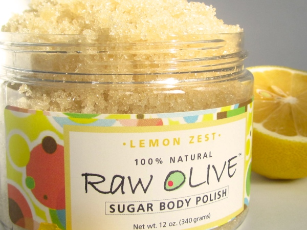 raw olive, sugar scrub, lemon, moisturizer