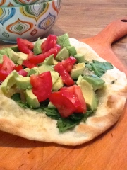 Raw Olive, healthy pizza, avocado, tomato